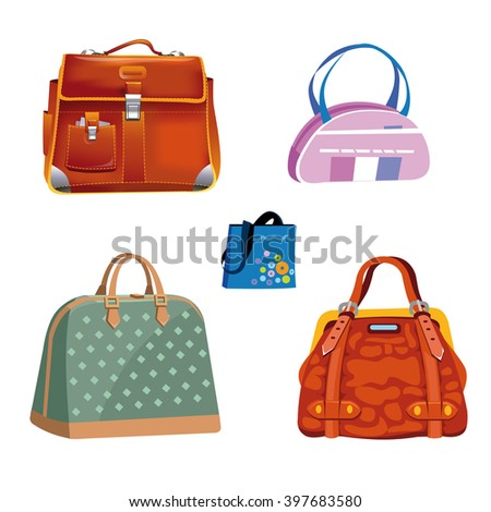 Five bags, vector illustration