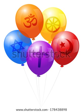 Five balloons, which are labeled with symbols of the five world religions: Christianity (purple), Hinduism (orange), Judaism (blue), Islam (red) and Buddhism (yellow). - stock vector