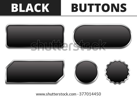 Five black buttons with metal frames, vector eps10 illustration - stock vector