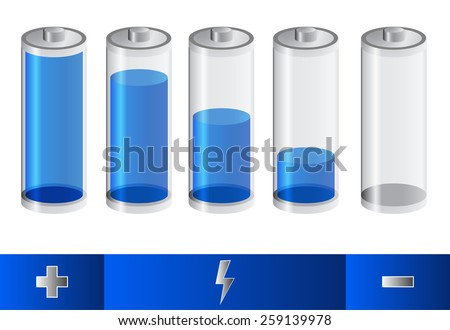 Five blue battery. battery symbols for indicate level of charge. five steps of battery capacity. flash symbol for charging. positive and negative sign for battery polarity on blue background - stock vector