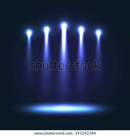 Five blue bright projectors for scene lighting decoration on black vector background. Special light effects - stock vector