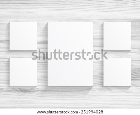 five boards blanks sheet of paper on white wood texture background - stock vector