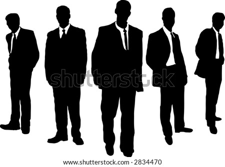 Five business men hanging in a gangster style