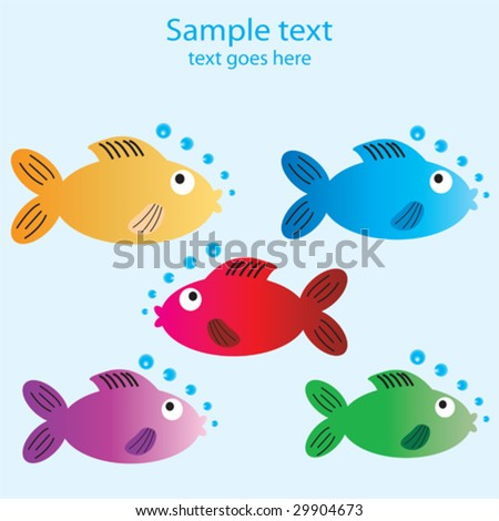 Five cartoon fish with space to include text for a card - stock vector