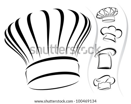 Five chef hat silhouettes in vector format as icons - isolated - stock vector