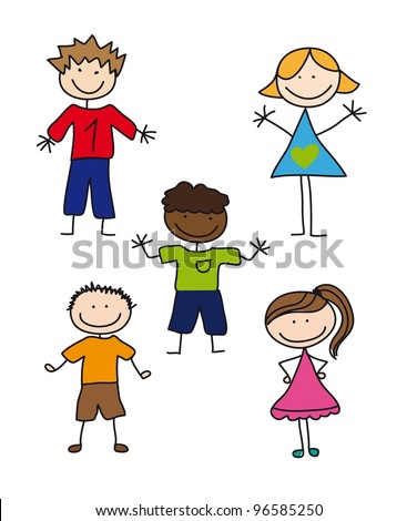 five children drawing isolated over white background. vector illustration - stock vector