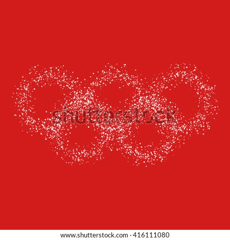 Five circles of transparent particles on a red background - stock vector