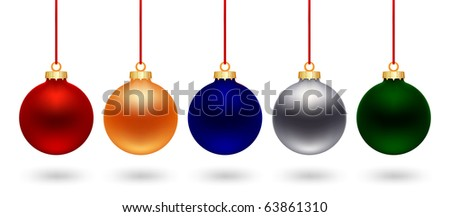 five color christmas ball on white background - stock vector