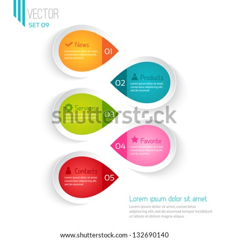 Five colored elements for infographic, white background - stock vector
