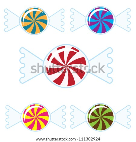 Five Colorful Candies - stock vector