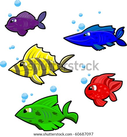 Five colorful, cartoony fish in underwater setting. Separated into layers for easy editing. - stock vector