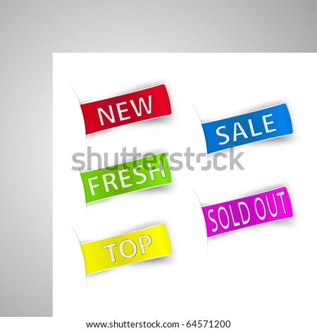 Five colorful sale announcement tags. Vector.