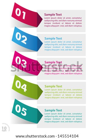 Five colorful stickers on the white background. Eps 10 vector file.