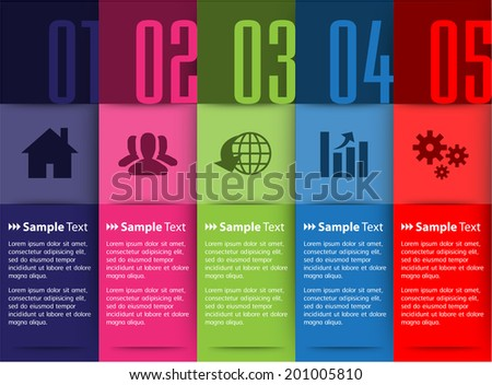 five column colorful tex box, number, icon. - stock vector