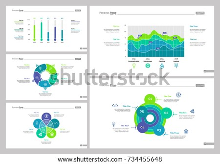 Five Data Analysis Slide Template Set Stock Vector
