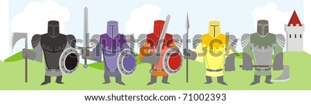 Five different-colored knights with various weapons - vector cartoon illustration
