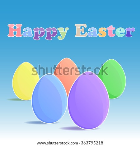 Five eggs and happy easter on the blue backgrouund - stock vector