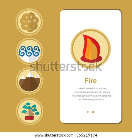 Five elements, symbol of feng shui in flat design: fire, water, wood, earth, metal. Concept Web design banner, layout, cards - stock vector
