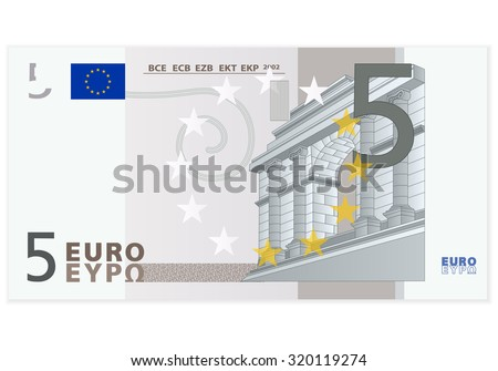 Five euro banknote on a white background. - stock vector