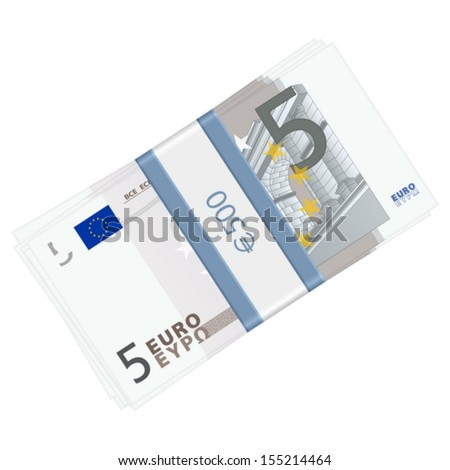 Five euro banknotes pack on a white background. Vector illustration.