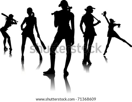 five female silhouettes - baseball players (vector); - stock vector