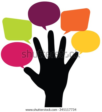 Five Fingers With Colorful Blank Bubbles - stock vector