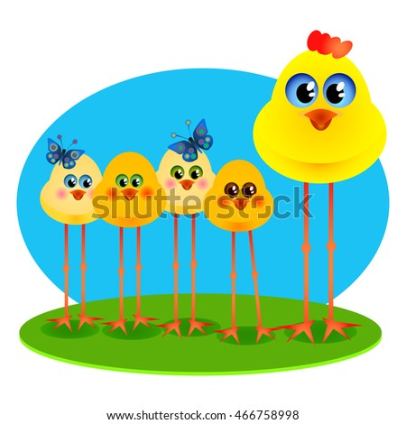 Five funny Chicks on a blue and green background