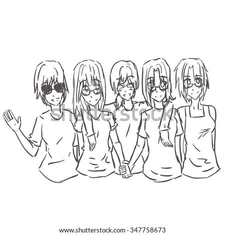 Five girls best friends hugging and smiling, one girl is waving and wearing sunglasses. They all wear glasses