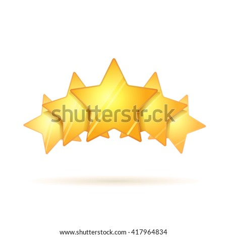 Five glossy golden rating stars with shadow isolated on white - stock vector