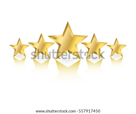 Five gold stars in different sizes with reflection on white background