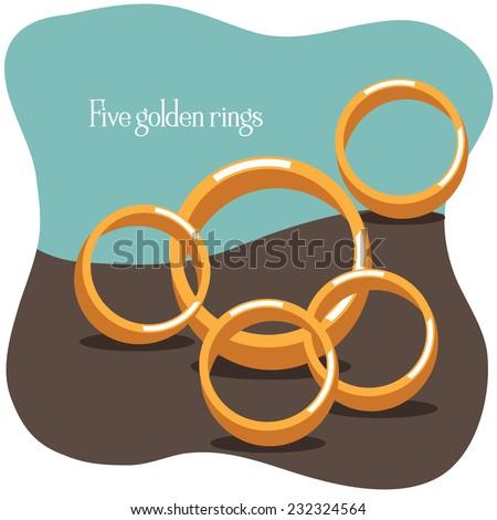 Five golden rings Twelve Days of Christmas EPS 10 vector illustration - stock vector