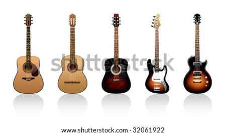 five guitars on a white background - stock vector