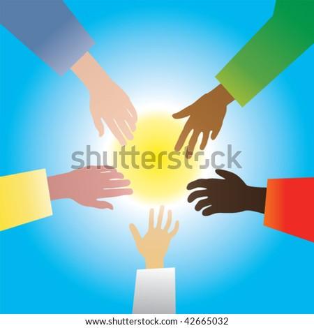 five hands vector - stock vector