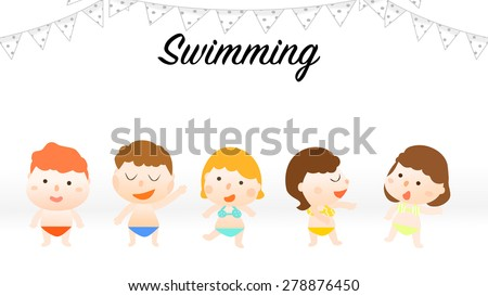 Five happy boys and girls cartoon characters wearing modern fashion colorful summer swimming suits, bikinis, briefs and speedos. White bunting triangle flags banner decorations. Illustration of kids. - stock vector