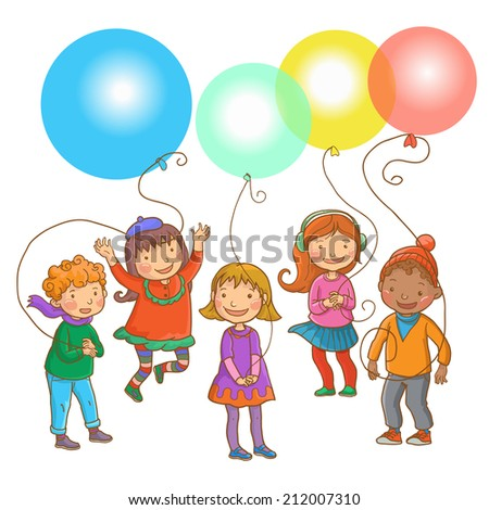 Five happy children with balloons. Back to School. COLOR. Isolated objects on simple background for picture books, magazines, advertising, Birthday Cards and more. VECTOR. - stock vector