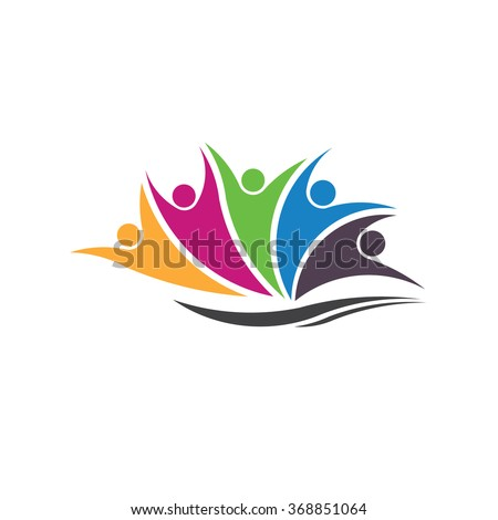 Five happy successful people over a wave colorful logo