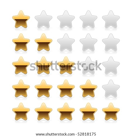 Five metal gold stars ratings with shadow and reflection on white - stock vector