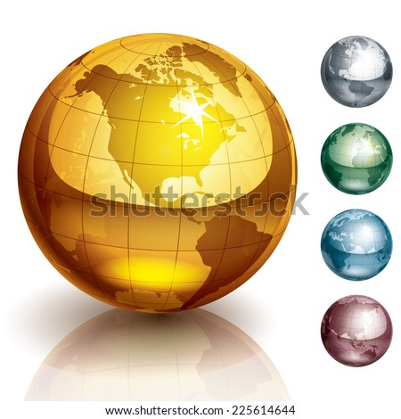 Five metallic globes. Eps10. Transparency used. CMYK. Global colors. Organized by layers. Gradients used. - stock vector