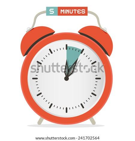 Five Minutes Stop Watch - Alarm Clock Vector Illustration  - stock vector