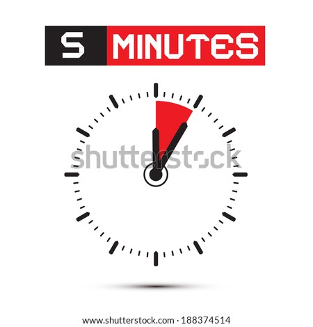 Five Minutes Stop Watch - Clock Vector Illustration - stock vector