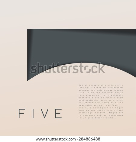 Five : Numeral Graphic in Overlapping Element : Vector Illustration - stock vector