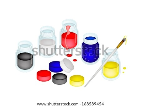 Five Open Poster Color Paint Jars With Craft Paintbrushes or Artist Brushes for Draw and Paint A Picture Isolated on White Background  - stock vector