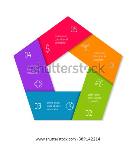 Five options infographic banner. Isolated polygonal workflow layout. Number banner template for diagram, presentation or chart. 5 parts progress steps for tutorial. Business concept sequence banner. - stock vector