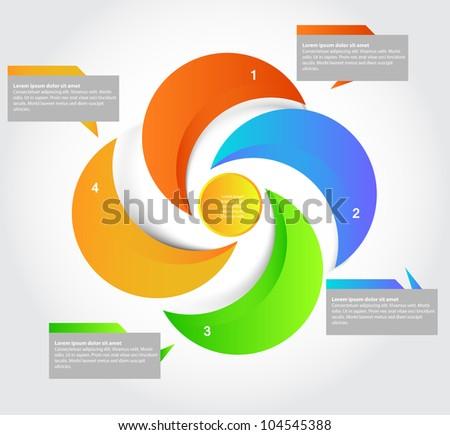 Five parts presentation, vector - stock vector