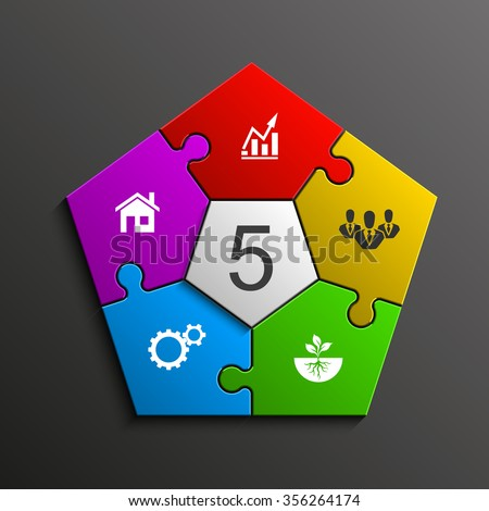 Five piece flat puzzle round infographic presentation. 5 step circle business diagram. Five section compare service banner. Vector illustration template shape . 3d Abstract Background