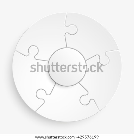 five piece flat puzzle round infographic stock vector 429576199
