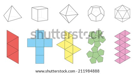 Five platonic solids, three-dimensional figures and corresponding nets. Isolated vector illustration over white background. - stock vector