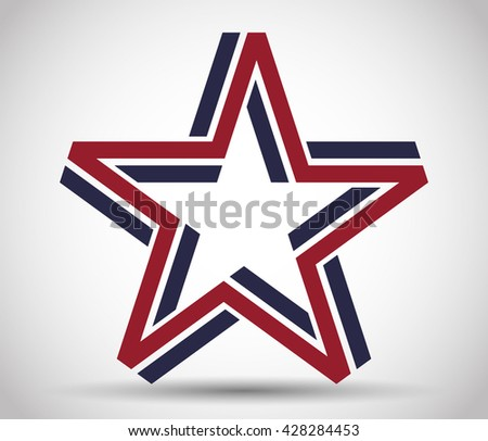 Five pointed star made from blue and red lines