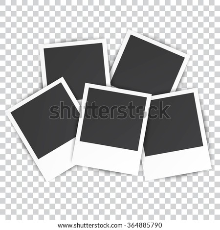 five Retro blank photography with a black place for your image in a photo album page. photo frame with shadow on a transparent background for your object. Vector illustration - stock vector