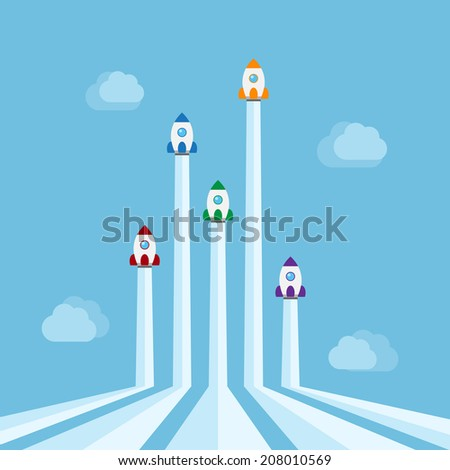 five rockets of different colors flying in the air with clouds on background, new start-up, business project, service or products concept